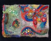 Below the Surface - Felted Embellished Fiber Art