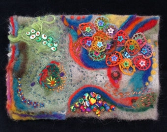 Below the Surface - Felted Embellished Fiber Art