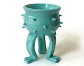 Small Grouchy Planter Pot with Spikes and Sculpted Feet - Bright Turquoise