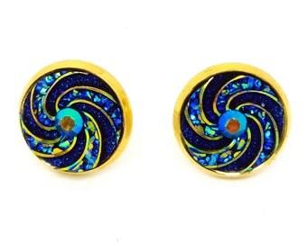 Blue Swirl Earrings - Gold Post