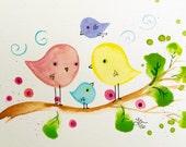 Small artwork Family of Four Cute Birds original painting