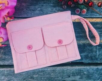 Blush Pink Corduroy Wallet Wristlet, Wristlet Purse, Corduroy Wristlet, iPhone Wristlet, Blush Pink Zipper Wallet,  Dorothy Wristlet Wallet