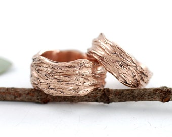 Redwoods Tree Bark Wedding Rings - 14k Rose Gold Wedding Band Set  - made to order wedding rings in recycled metal