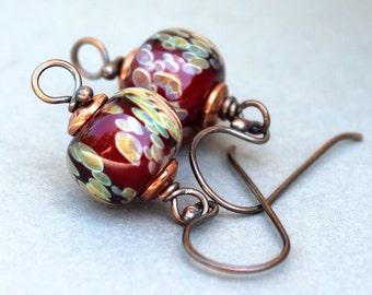 Lampwork Earrings, Glass Earrings, Copper Earrings, Dangle Earrings, Dark Red Earrings