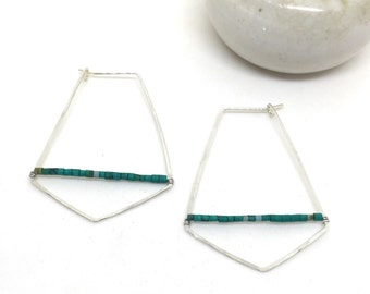 Hammered Diamond Hoop earrings with Malachite