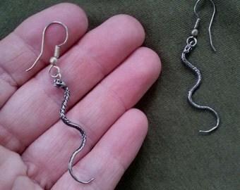 Vintage 1990s Snake Earrings Pierced Coiled Serpent
