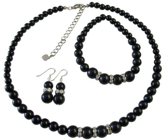 Black Pearls Jewelry Set Immitation Pearls Neckalce Set Sterling Silver 92.5 Earrings Stretchable Bracelet Free Shipping In USA