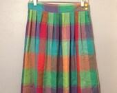 Vintage 80s Ladylike RAINBOW SHERBET Skirt sz M