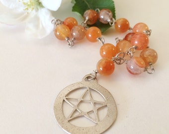 Fire Agate Meditation Beads