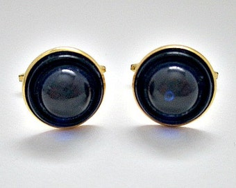 Cobalt Blue Vintage Cuff Links Cufflinks - Vintage 5.00 Men's Dude Jewelry Gift