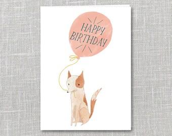 Birthday balloon Notecard Instant Download PDF