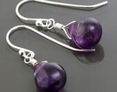 Purple Fluorite Earrings. Sterling Silver Ear Wires. Genuine Fluorite. Lightweight Earrings. s16e004