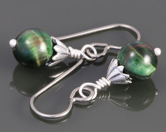 Green Tigereye Earrings with Titanium Ear Wires f16e023