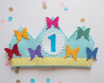 wool felt WALDORF birthday crown - Rainbow BUTTERFLY