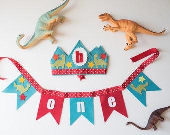 PARTY PACK Dinosaur Crown & Bunting - Birthday - Waldorf felt birthday crown