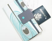 Travel Wallet / Travel Passport Holder / Passport Wallet / Passport Case / Passport Cover - Aqua Peacock