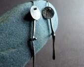 Oxidized Sterling Silver Artisan Bone Disc Earrings, Sterling Circle Dangly Earrings, Modern Rustic Silver Earrings, Moveable Joint Earrings