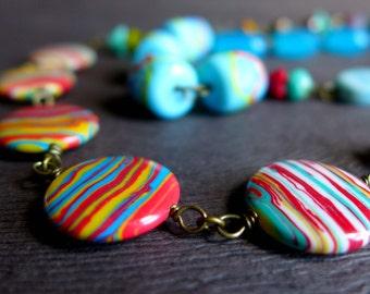 Chunky Rainbow Striped Bead Necklace, Long Turquoise Multicolor Striped Bead Necklace, Hot Summer Bead Necklace, Funky Colorful Necklace