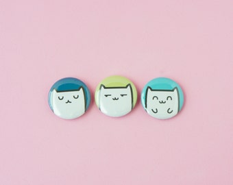 Sleepy Cat, Shifty Cat, Happy Cat • Set of 3 one inch pinback buttons