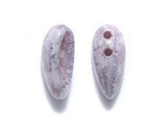 2-Hole Czech Glass Chilli Bead Light Purple Picasso 4x11mm  25 beads