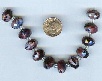 Stunning Glass Swirl Amethyst Purple Faceted Rondelles 14x10mm 6 pcs