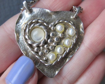 Vintage Heart-Shaped Sterling Silver and Pearl Art Necklace
