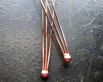 3 Pin Ball End 20 Gauge Antiqued Copper Headpins - 1 pair