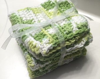 Set of 4 Keylime, 100% Cotton Washcloths / Dishcloths
