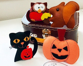 HALLOWEEN & THANKSGIVING Cat, Squirrel, Owl or Pumpkin, Unique Personalized Holiday Gift for FAMILY, Friends, Baby's First, Trick or Treat