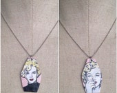 Marilyn Monroe - hand-painted silver charm necklace