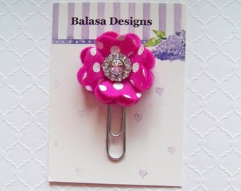 Shocking Pink Rhinestone Flower Planner Clip, Bookmark, Planner Accessory, Paper Clip