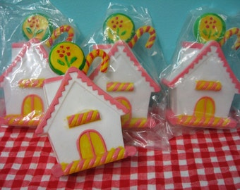 4 Vintage Plastic Sugarplum Gingerbread Christmas Fairy House Cake Decoration Topper Diorama Altered Art Shadowbox