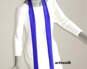 Blue Skinny Scarf, White Charmeuse Scarf, Blue Soft Silk Belt, Thin Long Scarf, White Charmeuse Scarf,  White Silk Sash, Black Long Tie,.