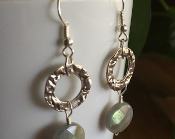 Labradorite and Silver Ring Earrings
