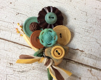 Beaded Brooch/Vintage Buttons and Beads/Handcrafted Embellishment/Vintage Millinery Stamens and Beads
