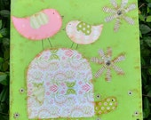 Paisley Turtle Green and Pink Mixed Media Whimsical and Sweet OOAK Painting Folk Art Custom Girl Boy Nursery Children's Room Wall Art