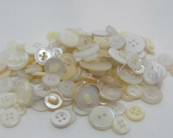Mixed Bundle of White and Off White Buttons  (BT1)