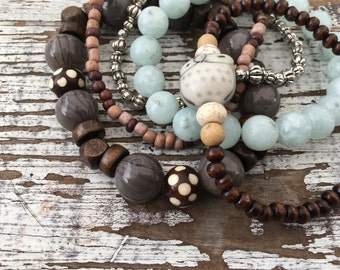 Beaded Stack Bracelets-Glass and Wood-Cuff Accessories-Boho Style-Mountain Air
