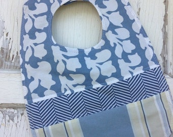 30%OFF SUPER SALE- Quilted Blue Bib-Wee Ones Bib Collection-Reversible