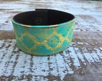 Custom Leather Cuff-Create Your Own-Old World-Word Cuff-Hand Painted