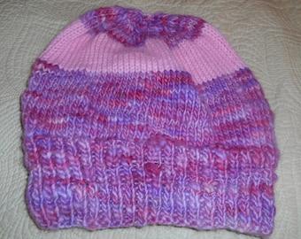 Hand knit knitted merino wool woolen hand dyed Malabrigo watch cap hat beanie pink lavender lilac women medium large