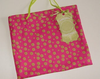Fabric gift bag, small tote, hot pink, green, gift wrapping, carryall