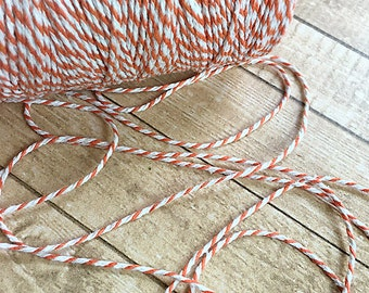 1 Yard of Orange and White Thick Baker's Twine, Rope, String, Craft Supply, Scrapbooking, Card-making, Home Decor, Wedding Decor, Pkg Wrap