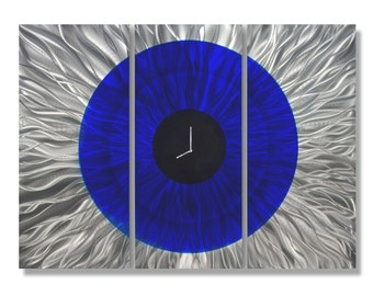 Large Royal Blue & Silver Modern Metal Wall Clock - Abstract Functional Art - Hanging Timekeeper Home Accent - Time In Focus by Jon Allen