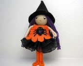 Witch Bendy Doll by Princess Nimble-Thimble, Small Felt Doll, Cute Bendable Doll, Waldorf Nature Table Decor, Halloween Witch, Autumn, Fall