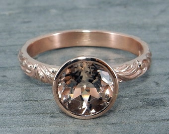 Morganite Rose Gold Ring - Chatham Lab-Created Gemstone with Recycled Metal, Eco-Friendly, Conflict-Free, Ethical Gems, Bezel Set, size 7.75