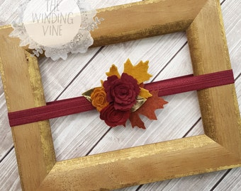 Fall Red/Rust Orange/Mustard Yellow Felt Flowers and Leaves Headband/Clip/Barrette with Gold Leaves for Baby, Child, Teen, or Adult