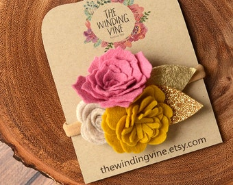 Yellow/Rose/Pink/Beige Felt Flower with Gold Leaves Headband/Clip/Barrette for Baby, Child, Teen, or Adult - Custom Elastic