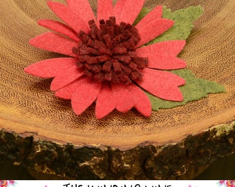 Red Felt Flower Gerbera Daisy Hair Clip/Barrette - Felt Hair Accessory for baby, toddler, child, teen, or adult - Custom Elastic