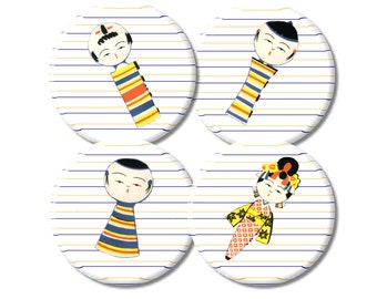 Japanese Kokeshi Dolls Button Magnet set of 4 party favors fridge magnets set 2 gifts under 10